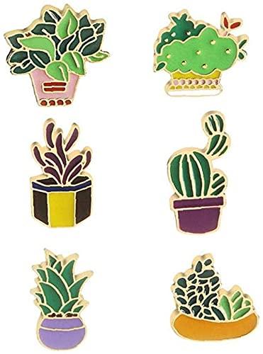 Professional6PCs Nette Broschen Emaille Kaktus Gras Aloe Vera Topfpflanze Abzeichen Pins