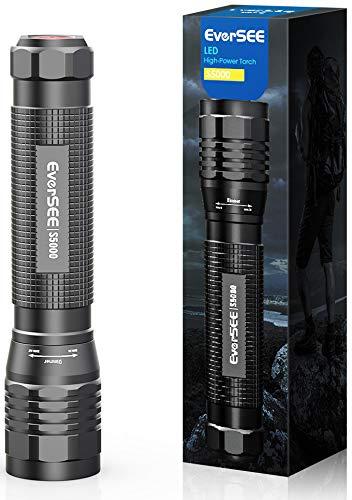 Linterna Linternas LED Alta Potencia - 2000 Lumen Linterna Potente LED de Enfoque Ajustable, 4 Modos Linternas Potentes para Caza, Resistente al Agua Linterna Tactica Militar para Ciclismo Cámping