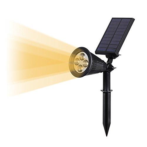 4 LED Luci Solari da Esterno, T-SUNRISE IP65 Faretti Solari a Paesaggio con 2 Modalità di Illuminazione Lampade Solari da Giardino Luci di Sicurezza Bianco 4000K