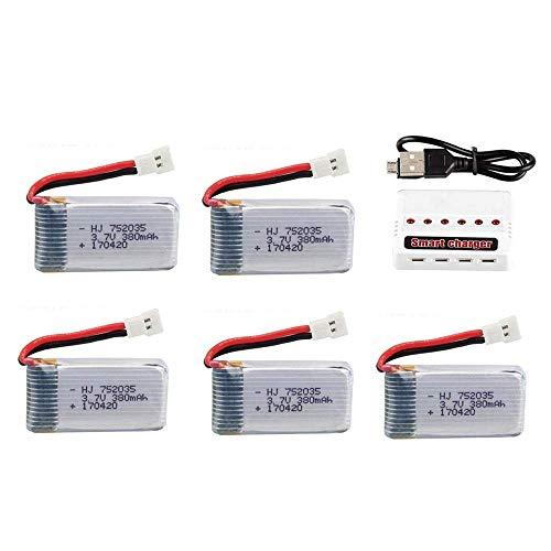 GzxLaY Set di batterie lipo 3,7 V 380 mAh per Hubsan X4 H107 H107L H107D JD385 JD388 RC Parti di Elicottero 752035 Batteria-C_5PCS ( Color : 5pcs )