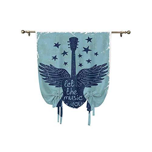 """Cortina decorativa con diseño de letras con texto en inglés """"Let the Be Your Pilot"""", con texto en inglés """"Let the Be Your Pilot"""", con diseño de estrellas, color azul oscuro"""
