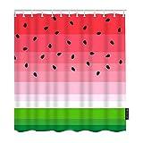 Moslion Wassermelonen-Duschvorhänge Sommer Obst Wassermelone Scheiben Schwarz Samen Rot Grün Streifen Badezimmer Duschvorhang Set Home Dekorativ Wasserdicht Polyester Stoff mit Haken 183 x 183 cm
