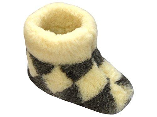 Herren Damen Hausschuhe Reine Wollhausschuhe - Hüttenschuhe Stiefel Warm Winter Wolle Warme Winterhausschuhe Schafswolle Mit Fell Schafwolle KARIERT (42)