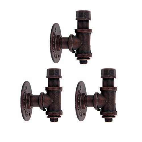 """KSS Industrie Retro Kleiderhaken 3/4\"""" Vintage Regalhalter Eisen Rohr Wandhaken Garderobenhaken – 3 Stück (Bronze)"""