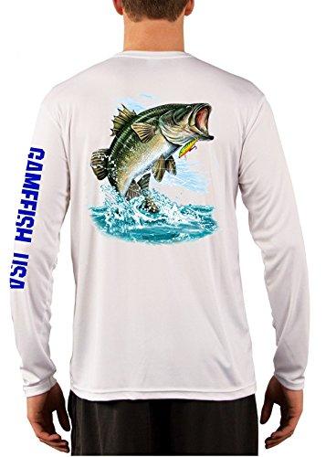UPF 50 Microfiber Moisture Wicking Long Sleeve Performance Bass Fishing Shirts X-Large Bass
