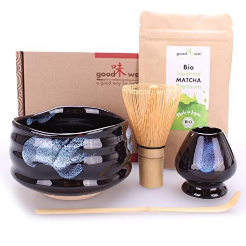 Teezeremonie-Set mit hochwertiger Matcha-Schale und echtem Bio Matcha aus Japan (Burashi)