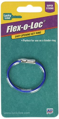 "Lucky Line 5"" Flex-O-Loc Cable Key Ring, Galvanized Steel, Corrosion-Resistant, 1 Per Pack, Colors Vary (71101), Blue 1 Piece"