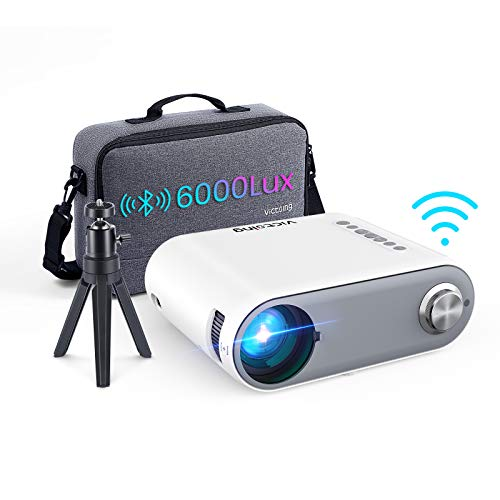VicTsing Mini Bluetooth Projector, 2021 WiFi Portable Projector 6000L HD 1080P Supported, Home Projector Outdoor Movie Projector Compatible with Type C/Android/iOS/HDMI/USB/SD/VGA[Bag & Tripod ]