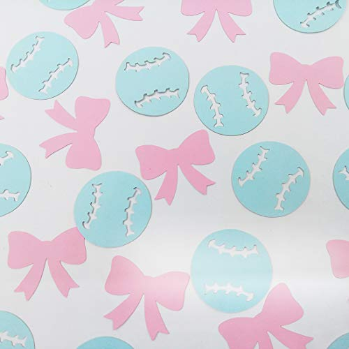 Morndew 100 PCS Baseballs or Bows Confetti for Birthday Party Baby Shower Gender Reveal Party Wedding Party Bridal Shower Decorations