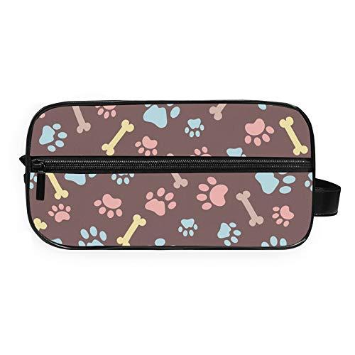 Bolsa de aseo RELEESSS con estampado de huellas de animales, ligera, portátil, para viajes, maquillaje, cosméticos, bolsa de mano para mujeres y niñas