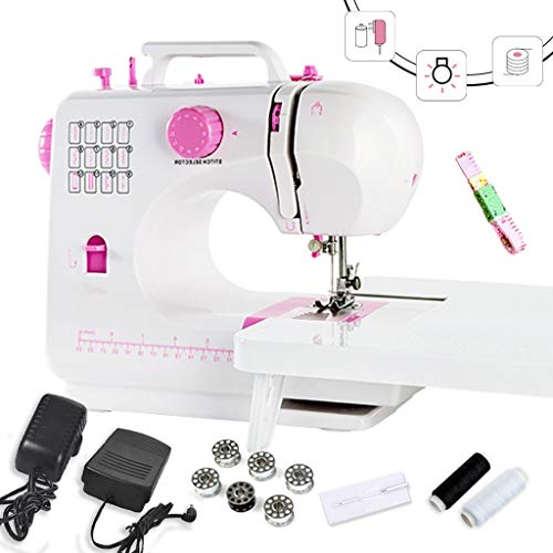 MTXD Naaimachine beginners, draagbare naaimachine verstelbare 2-traps dubbeldraads elektrische handwerker wit roze reparatiemachine met voetpedaal -1.7