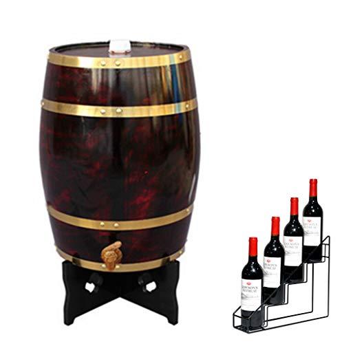 Wijnvat Dispenser Whisky Barrel 25L Huishoudelijke Decoratieve Verticale Eiken Veroudering Barrel met Wijnrek Geschikt voor het opslaan van Whiskey, Wijn, Hete Saus, Honing Effen Hout Casks