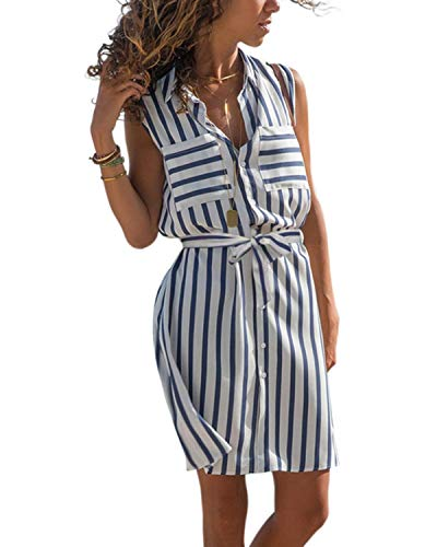 kenoce Blusenkleid Damen Longshirt V-Ausschnitt 3/4-Ärmel Longbluse Sommerkleid Tunika Kleid Kleider mit Knöpfe D1-Blau XXL