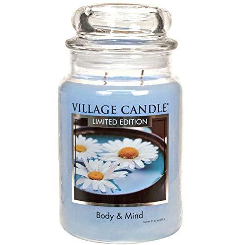 Village Candle - Body & Mind , candela profumata SPA ,vasetto tradizionale , fragranza bergamotto/iris, candela a 2 stoppini, 602 gr, formato grande, edizione limitata
