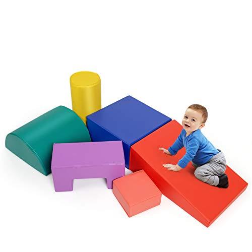 COSTWAY 6 STK. Schaumstoffbausteine, Riesenbausteine zum Toben und Klettern, Softbausteine aus Schaumstoff, Großbausteine Mehrfarbig, für Kinder im Vorschulalter, Babys und Schulkinder (Blau+rot)