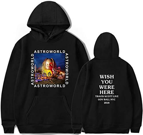 PANOZON Sudadera Mujer Impresión de Travis Scott Astroworld Hoodies con Capucha para Adolescentes Unisex Estilo Casual (L, A-Negro91)