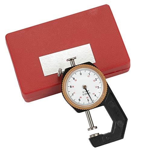 SOPRETY Analog Dickenmesser 0-20mm 0,1 mm, Dickenmessgerät Measuring Gauge zum Messen der Dicke von Leder, Textilien, Pappe, Filz, Folien