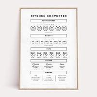 キッチンコンバータープリント白黒壁アートポスターミニマリストコンバージョンチャートキャンバスアートペインティングキッチンガイドチートシートPicture50X70Cmフレームなし