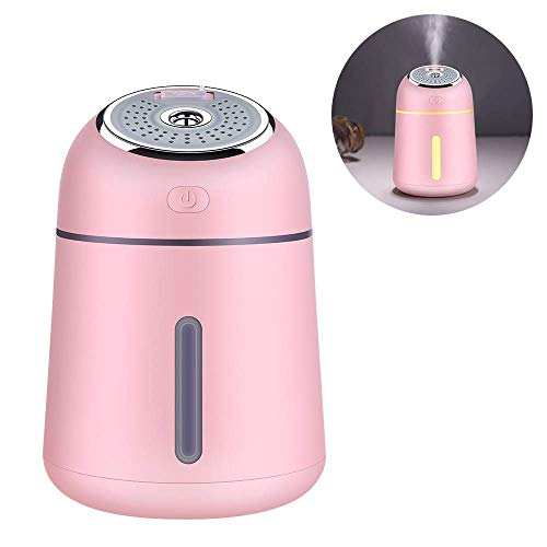 XJ0526 Mini Humidifier,Polymer Water Mist+Mute+USB Charging+Night Light,Prevent Dry Burning Protection,Best for Small Guest Room,Car,330Ml,Pink