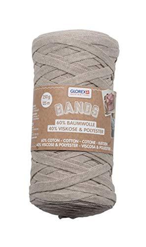 Glorex 5 1005 04 - Bands Makramee, superweiches Textilgarn aus 60 % Baumwolle/40 % Viskose, zum Häkeln, Stricken, Knüpfen und textilen Gestalten, 250 g, ca. 125 m, taupe