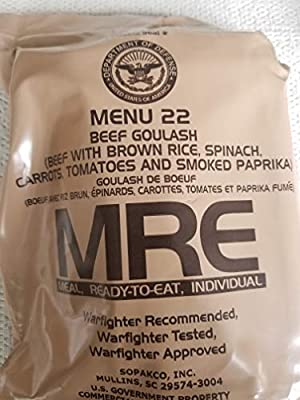 LoJo Surplus 2022 Genuine Military MRE Meals Ready to Eat with Inspection Date 2022 or Newer (Beef Goulash)