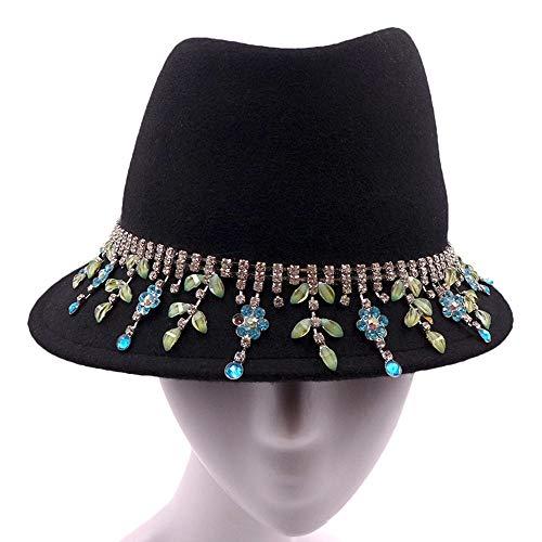 Cyyypd. L'autunno E Cappello Caldo Inverno Moda Creativa Nappa Diamante della Decorazione della Catena Cappello Berretto di Lana Miss Gao Duan (56-58CM)