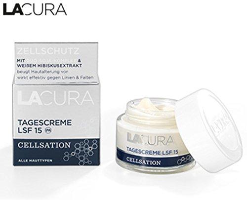 Lacura Cellsation Tagescreme mit Duo-Soja-Komplex und weißem Hibiskusextrakt Inhalt: 50ml Für straffe Haut hilft gegen Linien und Falten.