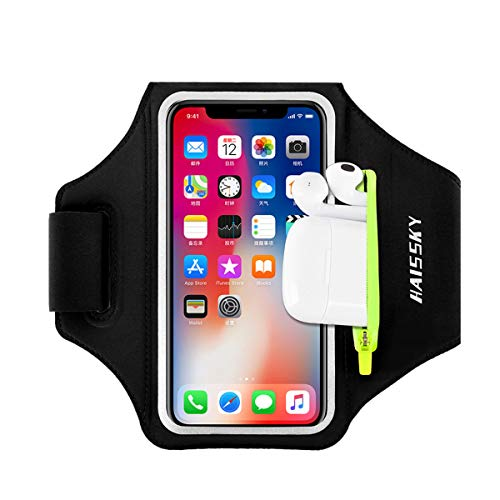 Running Armband with Airpods Bag Cell Phone Armband for iPhone 11/11 Pro/XR/XS/8/7, Water Resistant Sports Phone Holder Case with Touchscreen & Zipper Slot Car Key Holder for 6.5 inches Phone (Black)