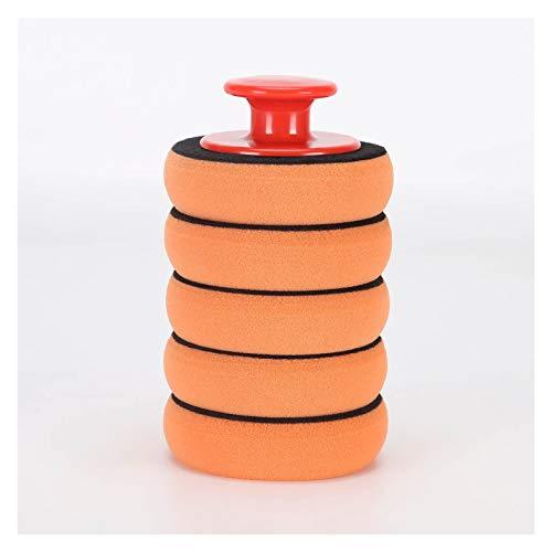 KKKKKK 6 unids/Set 4 Pulgadas / 100 mm Pulido Pulido Almohadilla Plana Esponja Pulido pulidor Almohadillas Kit Coche Auto pulidor de Pulido de Vidrio Pulido (Color : Orange)