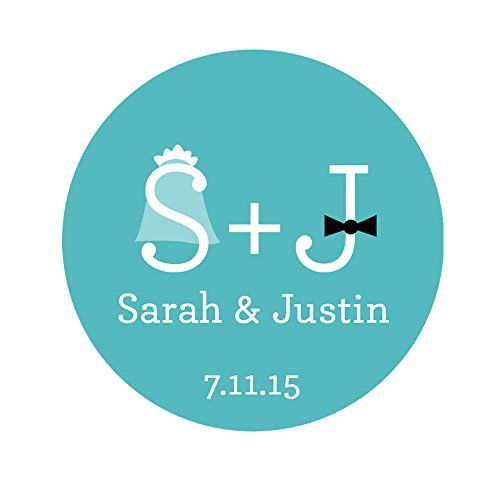 "Personalized Customized Wedding Favor Stickers - Bride And Groom Initials - Choose Your Size - (1.67"" = 24 Stickers)"