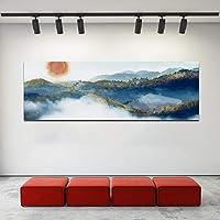 ファッションキャンバス絵画中国風山風景画壁画ポスターリビングルームモダン装飾写真30x90cm