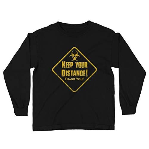 lepni.me Camiseta para Niños Mantenga su Distancia Manténgase Seguro Señal de Distanciamiento Social (9-11 Years Negro Multicolor)
