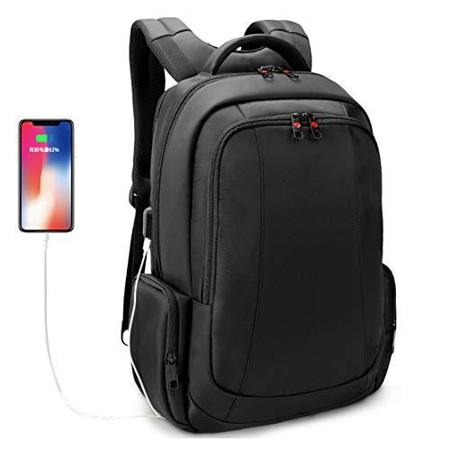 学校のラップトップバックパック、USB充電ポートを備えた17.3インチの盗難防止ビジネスバックパック、ビジネスカレッジの男女カジュアルな防水バックパックに適した大型コンピューターバックパック,黒