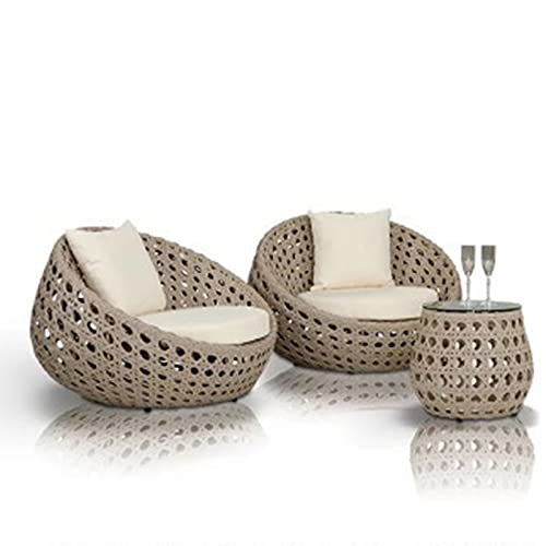 early morning Sofá de ratán con combinación de Muebles para Exteriores, Juego de sillas de ratán para jardín, sofá de ratán Impermeable y a Prueba de Sol para Exteriores(Size:A)