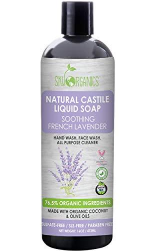 Castile Soap Organic French Lavender by Sky Organics (16oz), Plant Based Liquid Soap and All Purpose Wash, Vegan & Cruelty-Free, Lavender Essential Oils Natural Castile Soap Savon de Marseille