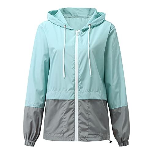 GFPGNDFHG Women Sweater Tops Long Sleeve Drawstring Zipper Hoodie Hooded Color Block Oversized Tops Sweatshirt Blouses