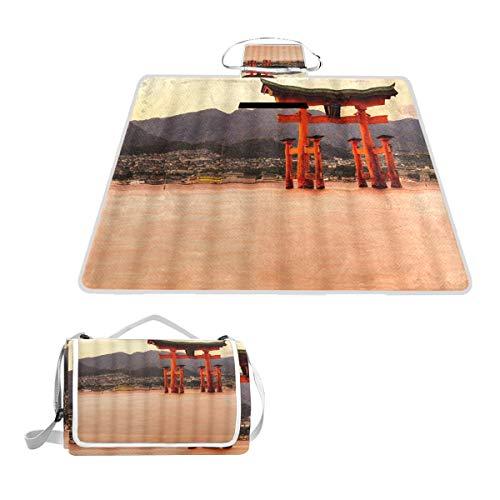 XINGAKA Picknickdecke,Miyajima Das berühmte schwimmende Torii Tor Japan,Outdoor Stranddecke wasserdichte sanddichte tolle Picknick Matte