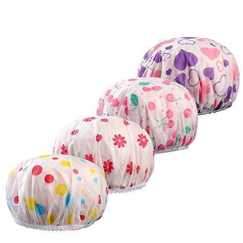YOFASEN 4 Pièces Bonnet de douche Imprimé - Imperméable et Réutilisable Shower Cap Spa Bonnet De Bain Élastique Pour les Femmes Filles