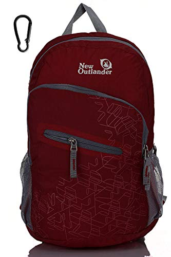 Outlander 20L/33L- Most Durable Packable Lightweight Travel Hiking Backpack Daypack (Dark Red, 20L)