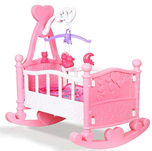 Quickdraw Pink Baby Dolls Rocking Cradle Crib Cot Bed with Mobile, Blanket...
