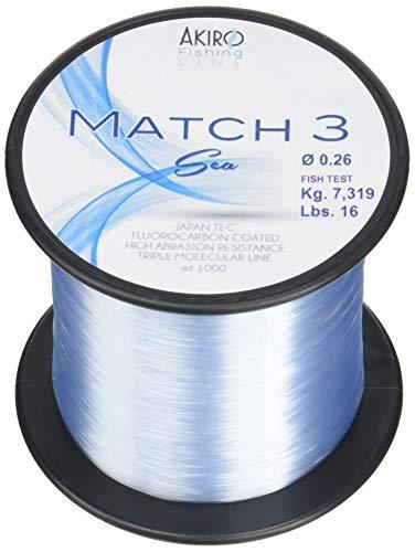 Akiro Match 3 Sea, Filo da Pesca Unisex – Adulto, Azzurro Fluo, 0.18 mm