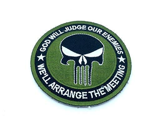 Punisher God Will Judge Our Enemies Verde Bordado Airsoft Patch