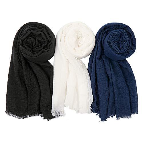 EVQ Soft Cotton Hemp Scarf Wrap Long Hijab Scarves for Women (Black+White+Navy Blue)