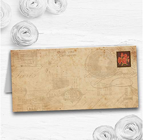 Shabby Chic Vintage Postkaart Rustieke Rose Stempel Bruiloft Tafel Naam Plaats Kaarten 60 Place Cards