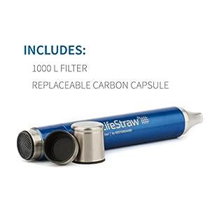 شراء LifeStraw Steel Personal Water Filter with 2 Stage Carbon Filtration for Hiking, Camping, Travel and Emergency Preparedness