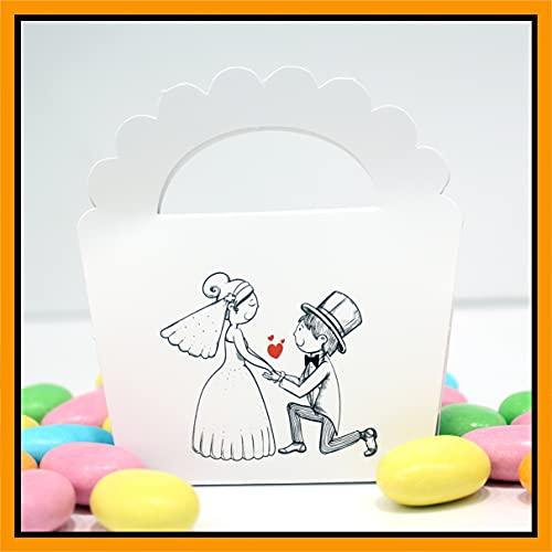 25+25 pezzi - Scatoline e Matrimonio Bomboniere Portaconfetti n. 25 pezzi + Bigliettini per Bomboniera o per fazzoletti sposi nozze 25 pezzi