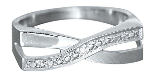 Hobra-Gold Moderner Weißgoldring 585 mit Brillant - Ring Weißgold - Designer Ring massiver Goldring