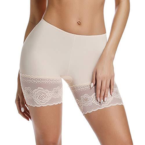Joyshaper Unterhosen Damen mit Spitze Unter Rock Kurz Hose Anti-Chafing Anti-Rutsch Lace Leggings Sicherheits Shorts Miederhose Miederslip Miederpants Nahtlose Unterwäsche (Beige, Small)