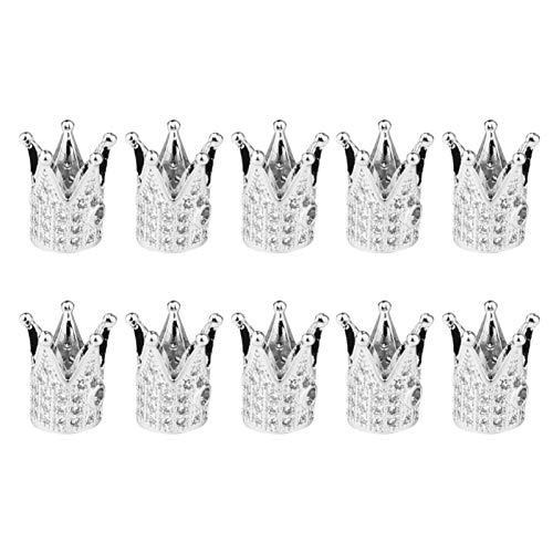 EXCEART 10 Piezas Mini de Oro Y Plata Cuentas de Diamantes de Imitación Rey Abalorios Colgantes Encantos de King Cuentas Espaciadoras para Joyería DIY