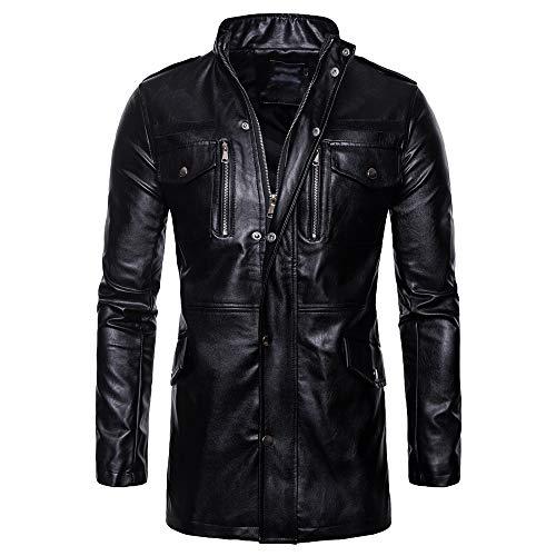 BAGEE Herren Schwarz Lange Lederjacke, Mode Windjacke, Motorradfahrer Mäntel, Außen windundurchlässiges Outwear Mantel Spitzenbluse,Black-XXL